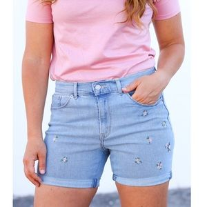 Levi's Floral Embroidered Classic Denim Shorts